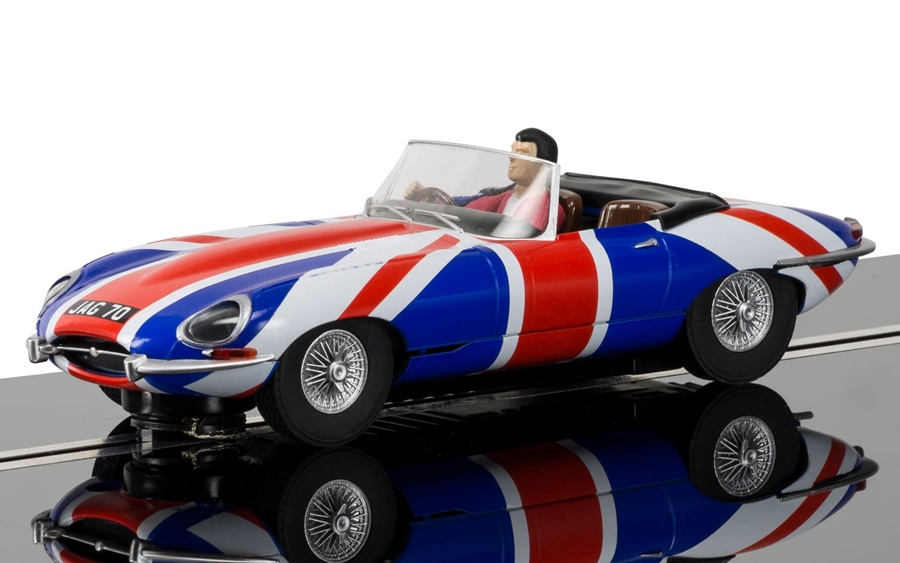 Scalextric Car C3878 Union Jack Jaguar E Type Slot Car (Like Austin Powers  Shaguar